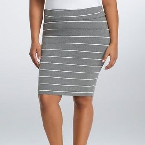 STRIPED FOLDOVER MIDI SKIRT